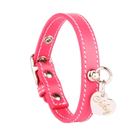 Pink and Silver Stitch Leather Collar