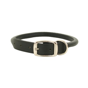 Rolled Leather Dog Collar – Black