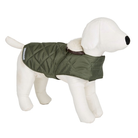 Olive Quilted Waterproof Dog Coat 2