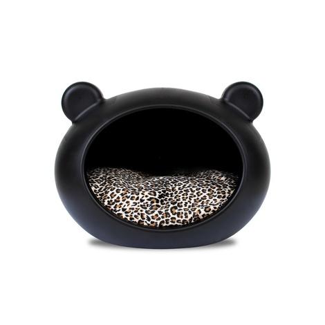 Small Black Dog Cave with Animal Print Cushion