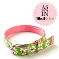 Green daisy on Pink Polka Collar