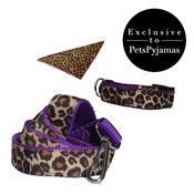 Pet Pooch Boutique - Leopard Print Dog Collar, Lead & Bandana Set