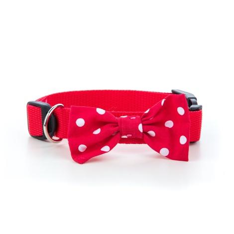 "Red Polka Bowtie Dog Collar 1"" Width"