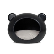 GuisaPet - Medium Black Dog Cave with Grey Cushion