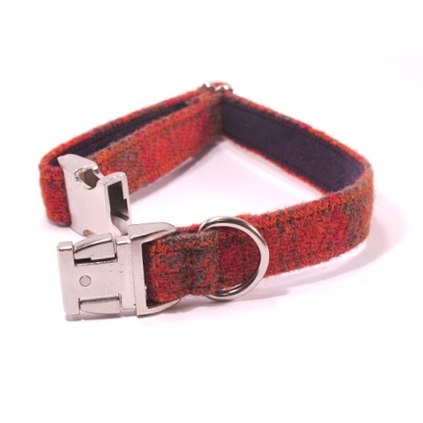 Orange & Olive Harris Tweed Dog Collar 2