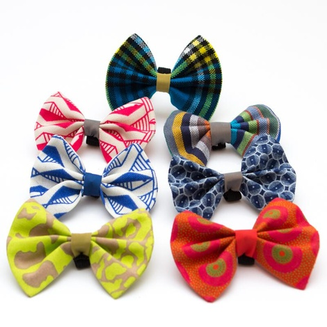 Geo Blue Dog Bow Tie 4