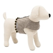 Mutts & Hounds - Grey Tweed Dog Harness with Pom Poms