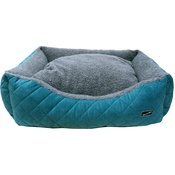 Hem & Boo - Quilted Rectangle Fleece Dog Bed - Turquoise