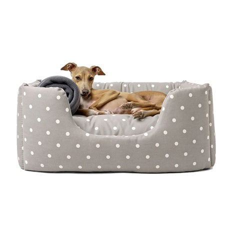 Deeply Dishy Luxury Dog Bed - Dotty Dove Grey