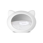 GuisaPet - White Cat Cave with Grey Cushion