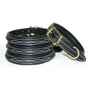 Pear Tannery - Embroidered Premium Leather Dog Collar in Black
