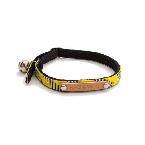 Yellow Zig Zag African Print Cat Collar 2
