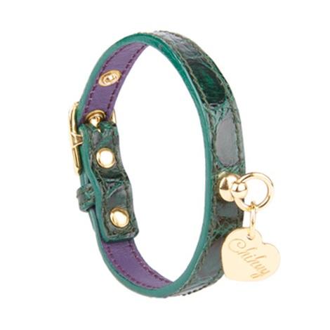 Dog Collar in Emerald Green Calfskin Leather