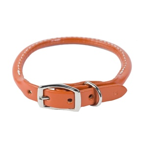 Rolled Leather Dog Collar – Tan