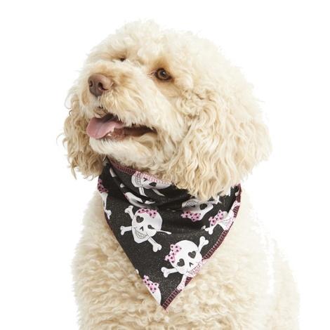 Pink Glitter Skulls Dog Bandana