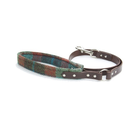 Harris Tweed Turquoise Check Lead