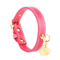 Pink and Gold Stitch Leather Collar