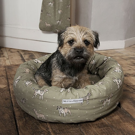 Dogs Linen Donut Bed - Green 3