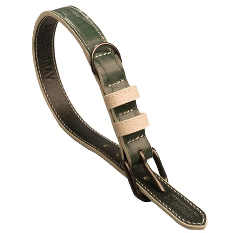 Paris Croc Leather Dog Collar – Forest Green & Stone 2