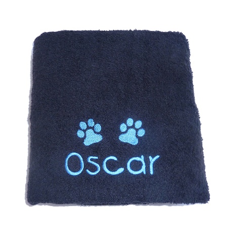 Personalised Pet Towel - Black