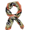 Boston Terrier Print Silk Scarf - Mint & Coral