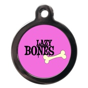 PS Pet Tags - Pink Lazy Bones Dog ID Tag