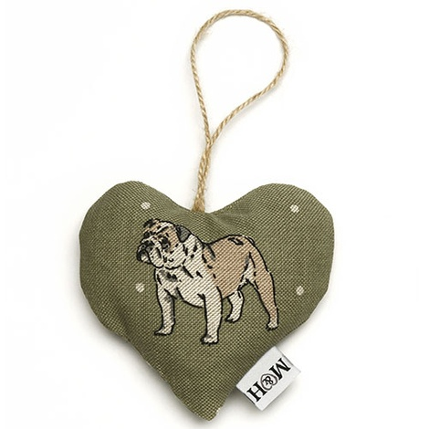 Dogs Linen Lavender Heart Green - Bulldog