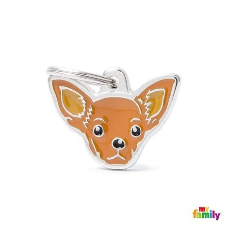 Chihuahua Engraved ID Tag – Brown