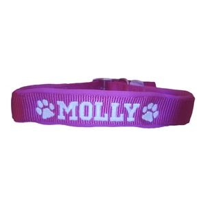 Personalised Embroidered Dog Collar – Raspberry Pink