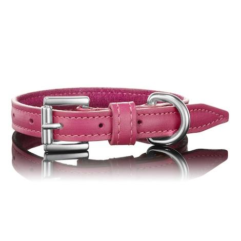 Dark Pink Leather Dog Collar