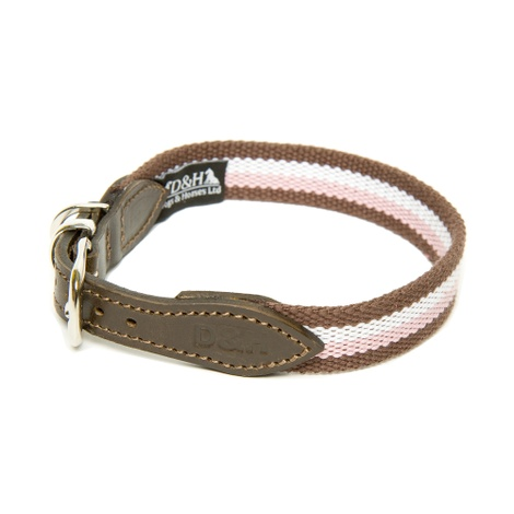 Brown, White & Pink Wide Striped Webbing Collar