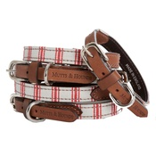 Mutts & Hounds - Organic Ticking Cranberry Dog Collar