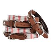 Mutts & Hounds - Organic Ticking Cranberry Dog Collar