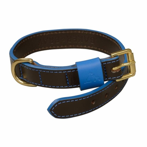 Pimlico Leather Dog Collar – Black & Blue