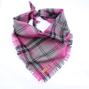 Pet Pooch Boutique - Frayed Buffalo Pink Plaid Dog Bandana