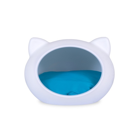 White Cat Cave with Blue Cushion
