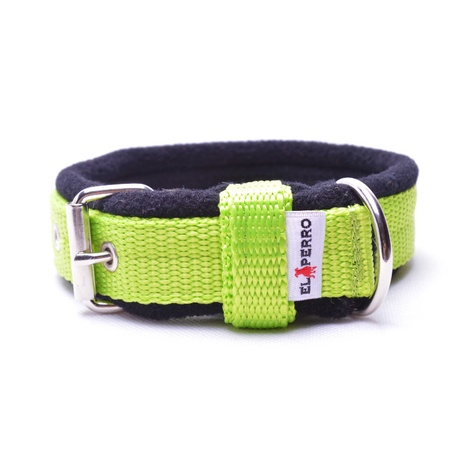 2.5cm width Fleece Comfort Dog Collar – Neon Green