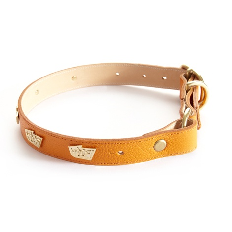Woof Leather Dog Collar - Orange 3