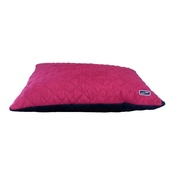 Hem & Boo - Quilted Cushion Dog Bed - Black & Raspberry