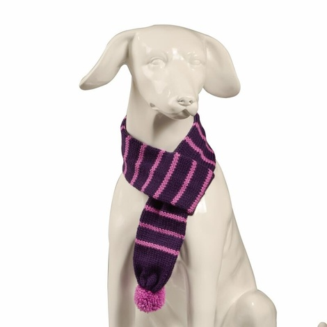 Knitted Dog Scarf – Grape & Pink