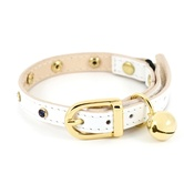Linny - White Leather Cat Collar with Multi-coloured Crystals