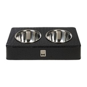 Diva Dog - Rectangular Black Crocodile Double Bowl