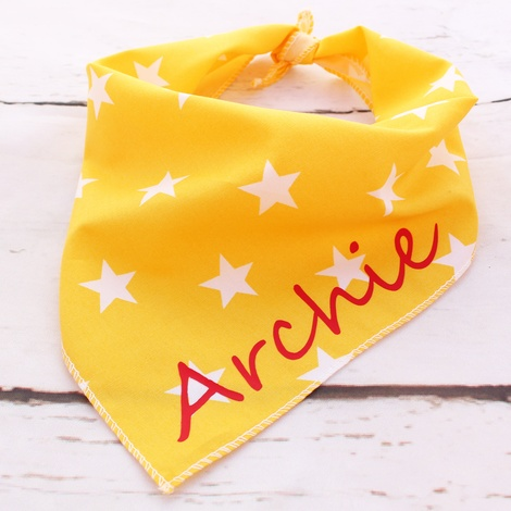 Personalised Yellow Star Dog Bandana