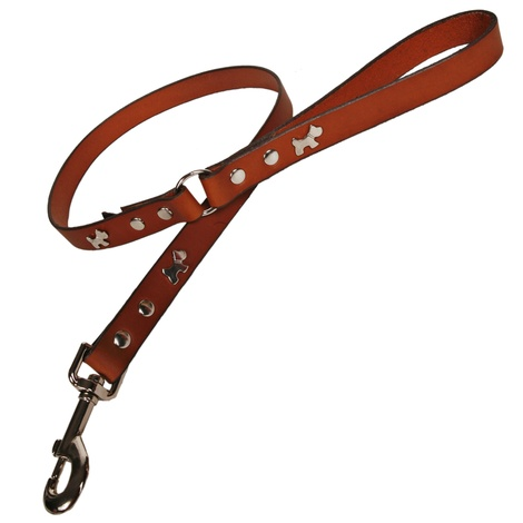 Tan Silver Dogs Classic Leather Dog Lead