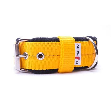 4cm width Fleece Comfort Dog Collar - Yellow