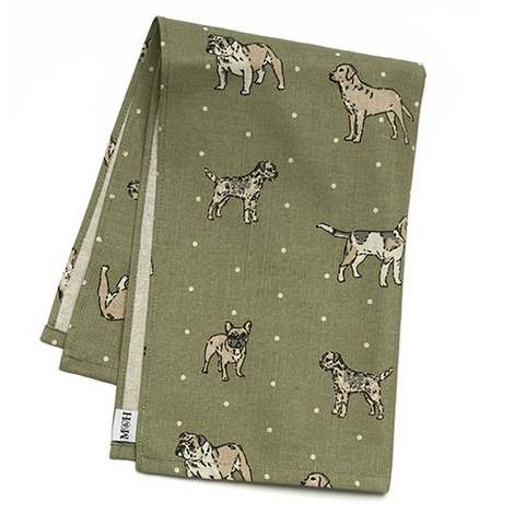 Dogs Linen Tea Towel - Green