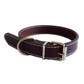 The Paws Pet Supplies - Traditional Plain Brown Leather Dog Collar