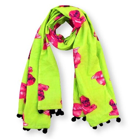 Biddy Pug Scarf - Green with Neon Pink Pugs 2