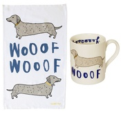 New House Textiles - Wooof Tea Towel & Mug Gift Set