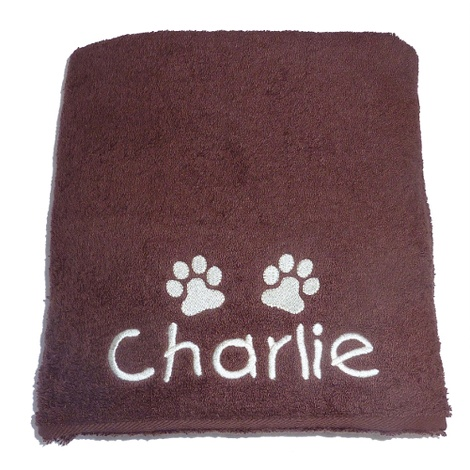 Personalised Pet Towel - Chocolate